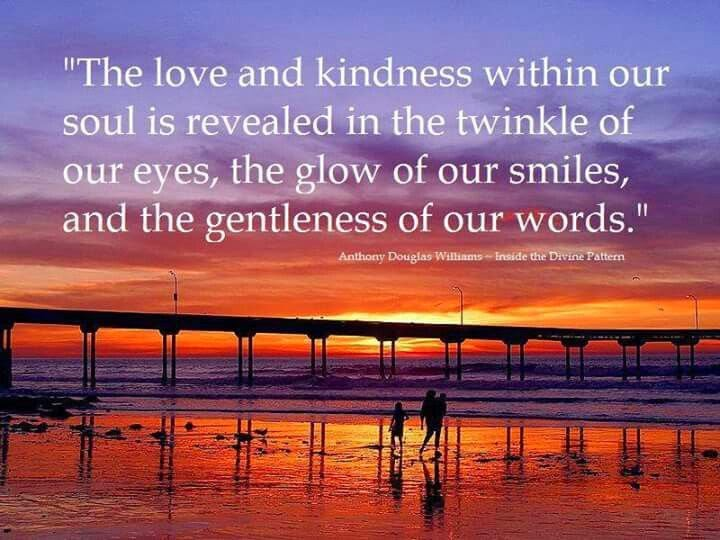 """The love and kindness within our soul is revealed in the twinkle of our eyes, the glow of our smiles, and the gentleness of our words."" ~ Douglas Williams - Inside the Divine Pattern. Picture of a family on a beach with the sun setting in the background."