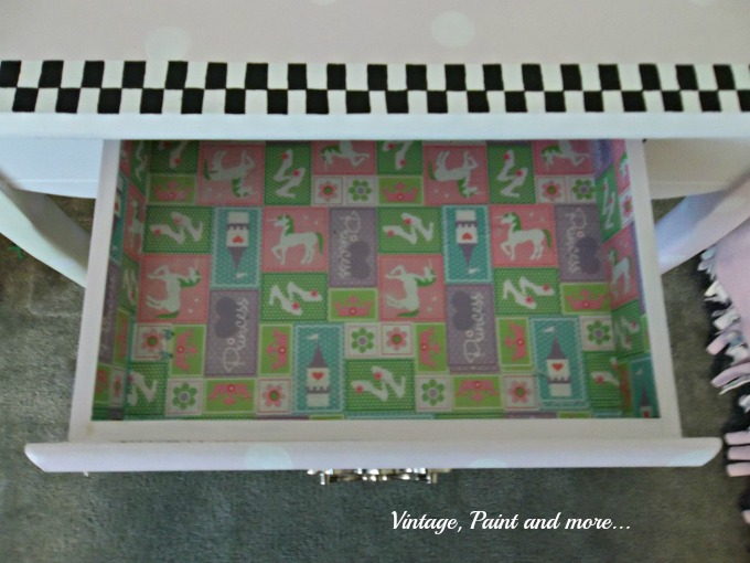 Vintage, Paint and more... drawer liner of wrapping paper, using wrapping paper to line a drawer, mod podge drawer liner