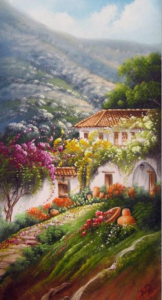 Im genes arte pinturas paisajes r sticos decorativos for Imagenes de cuadros abstractos rusticos