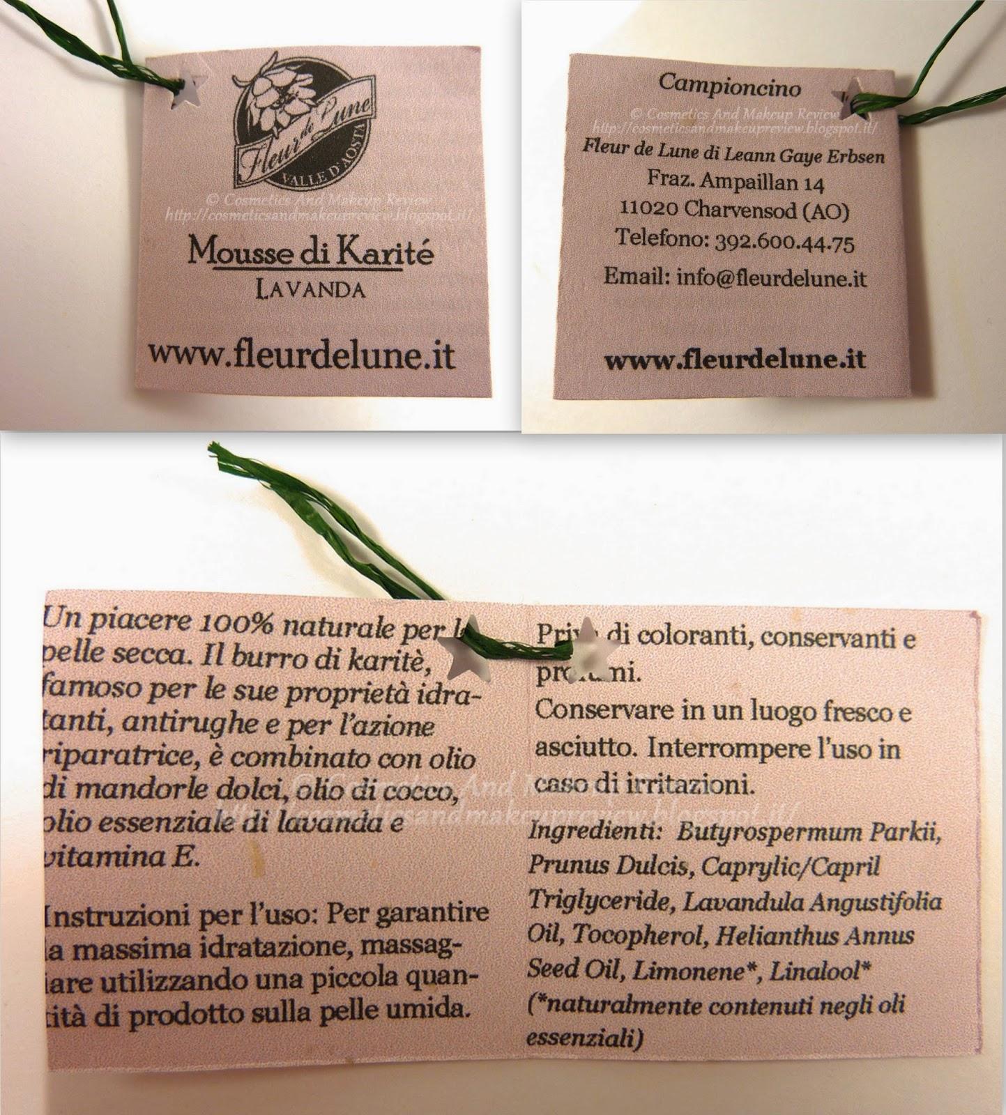 Fleur de Lune - Mousse di Karité alla Lavanda - etichetta