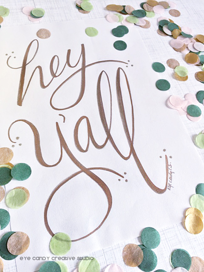 metallic gold letters, hand lettering, art print, the flair exchange, confetti