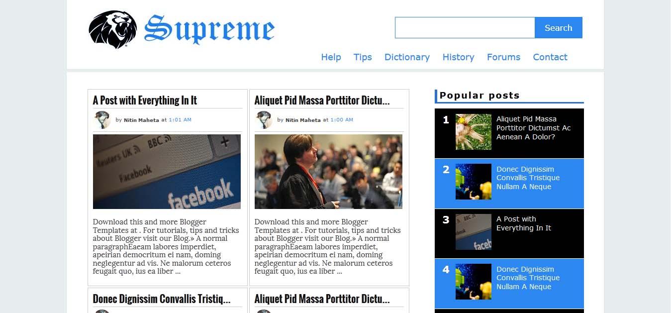 Supreme Blogger Template (Responsive) Free Download | Blogger Widget ...