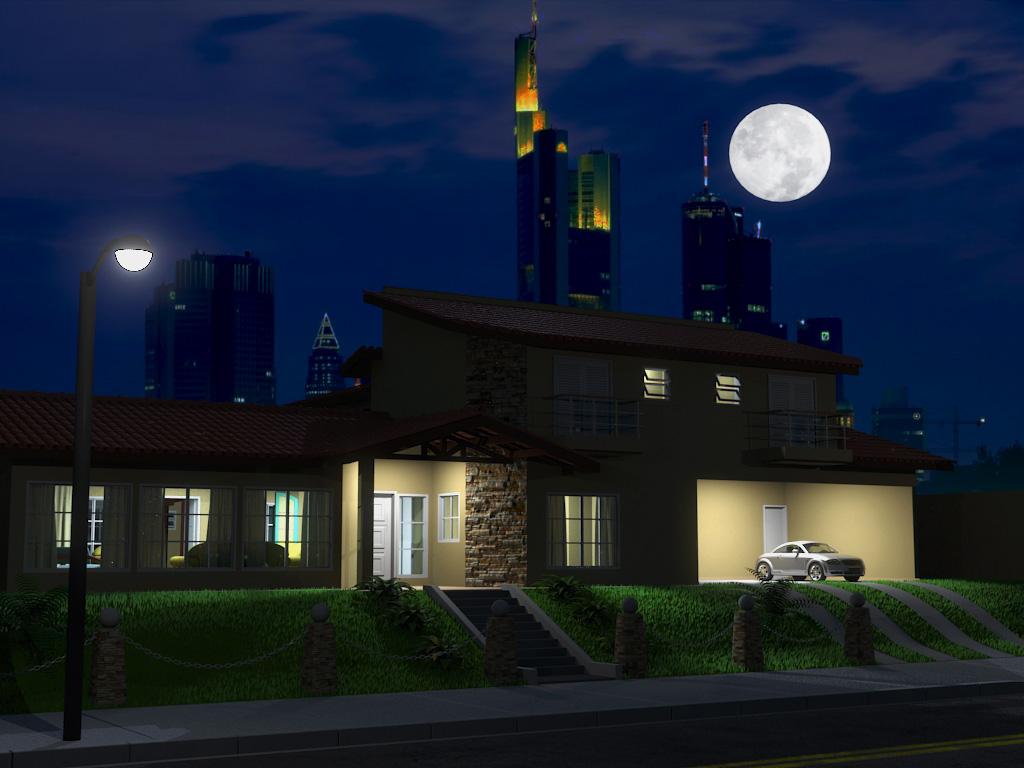 Emersonarts maquete noturna diurna for Casa moderna sketchup download