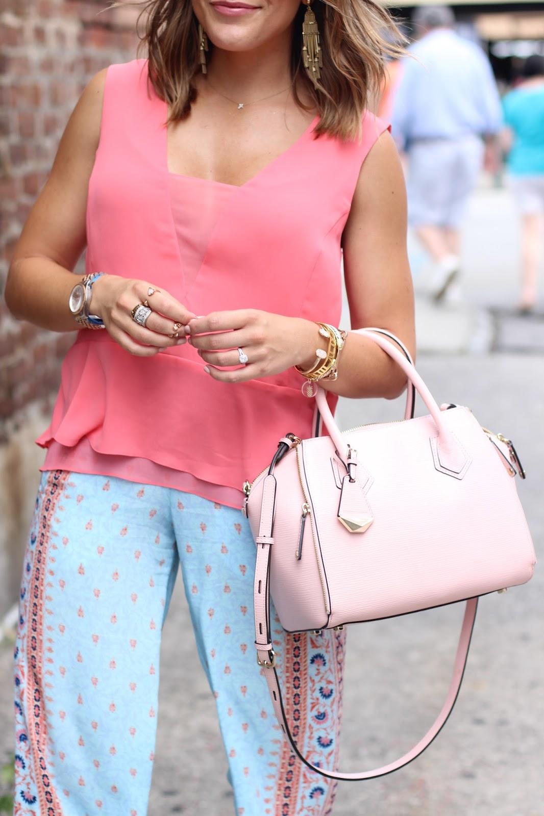 Shelby Skaggs from Glitter & Gingham: BCBGMAXAZRIA top & pants, Rebecca Minkoff Bag