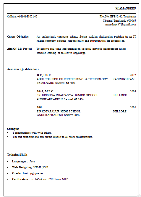 sample resume format for freshers engineers resume templates for