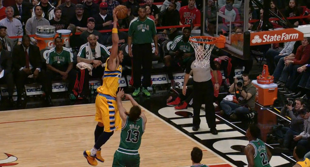 JaVale McGee dunk on Joakim Noah