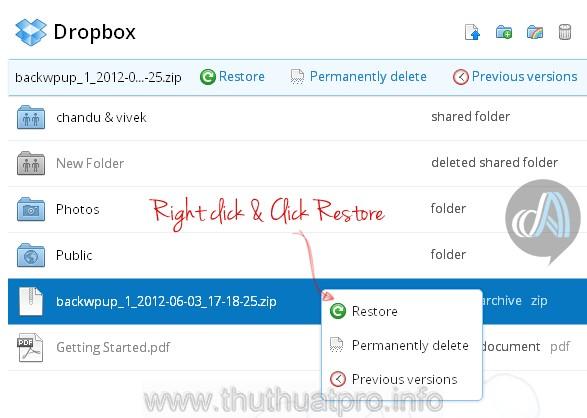 Cách khôi phục tập tin bị xóa trong Dropbox