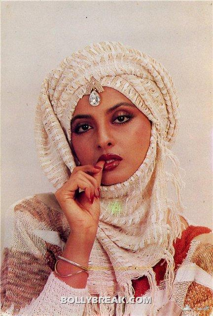 Rekha with Headgear - (8) - Rekha Hot Pics - 1980's 1970's Rekha Photo Gallery