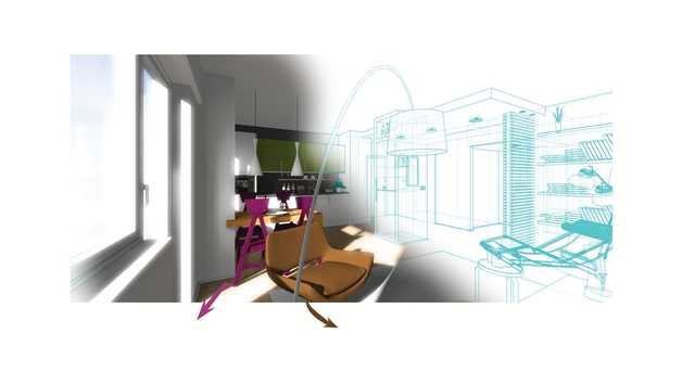 Illustration showing dining area coming out from a drawing
