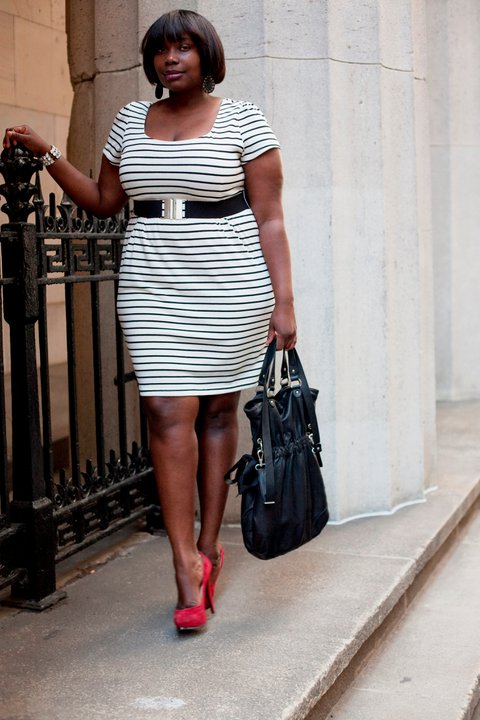 At The Office Black White Stripes Stylish Curves
