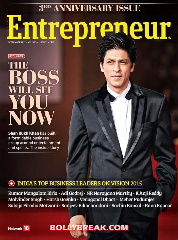 Shah Rukh Khan on the cover of Entrepreneur Magazine  - Shah Rukh Khan on the cover of Entrepreneur Magazine September 2012