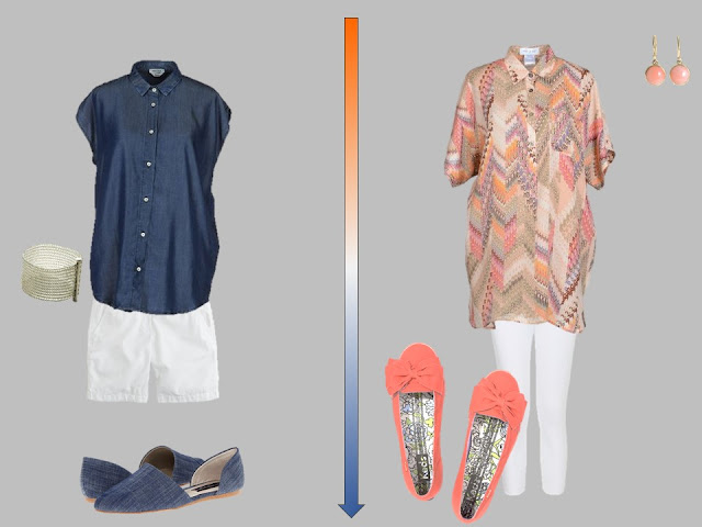 white shorts with dark blue shirt, and white pants with orange printed tunic