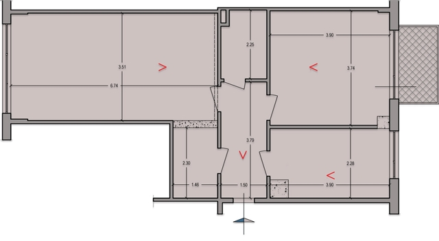 Floor plan showing old walls before renovation