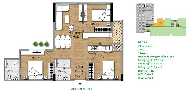 Căn hộ C5 78,7 m2 tầng 7 chung cư Valencia Garden