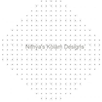 Kolam 107: Diwali Kolam 21 to 5 dots 1