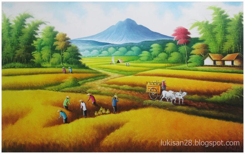 Lukisan Pemandangan: LUKISAN PEMANDANGAN SAWAH