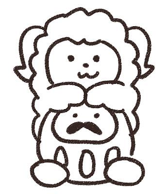 ダルマと羊のイラスト(未年) モノクロ線画
