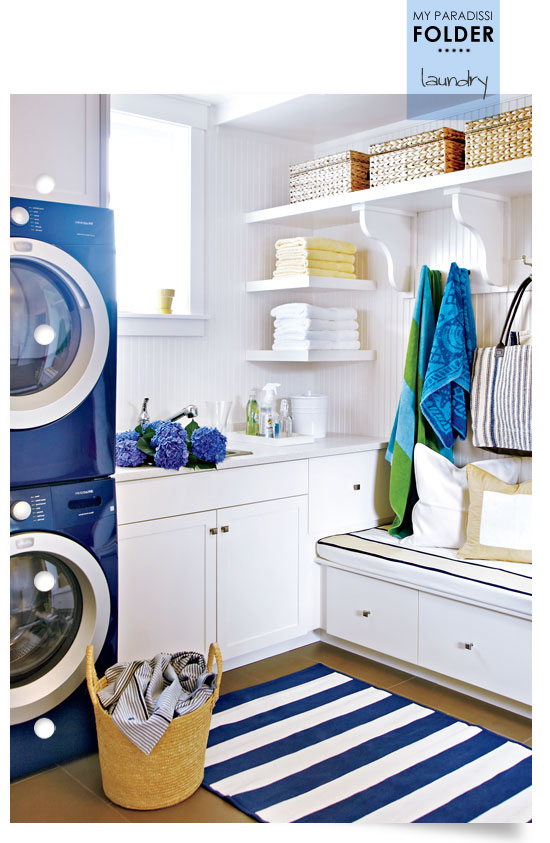 Coastal inspired laundry room