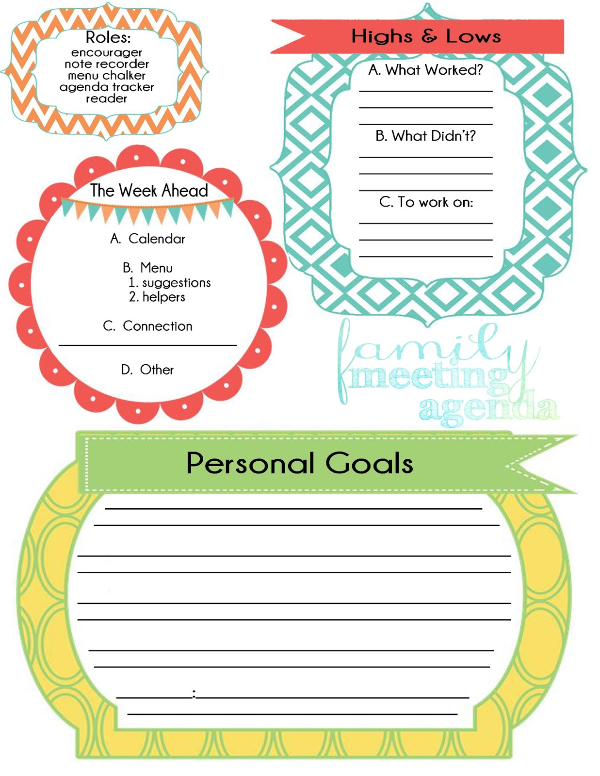 Life Made Creations: family meeting : free printable