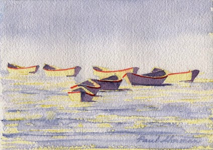 "Carter's Dories in Boothbay Harbor - Watercolor 5"" x 7"""