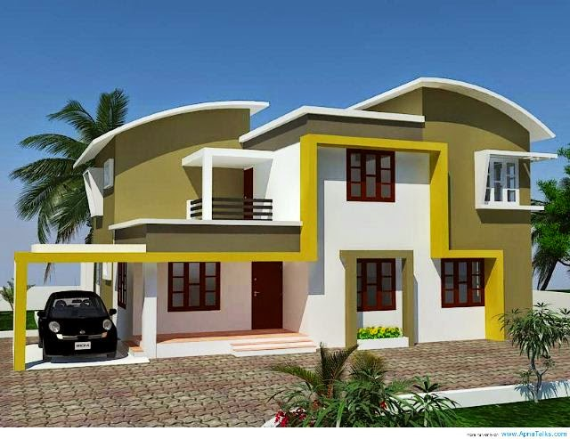 Exterior wall painting colors for Indian home outer design