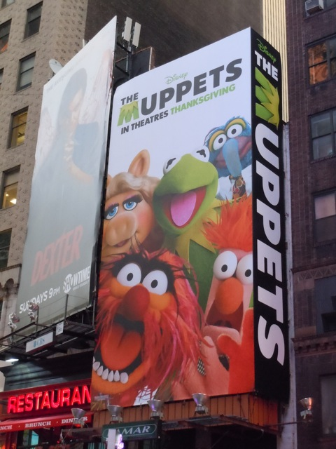 The Muppets movie billboard NYC