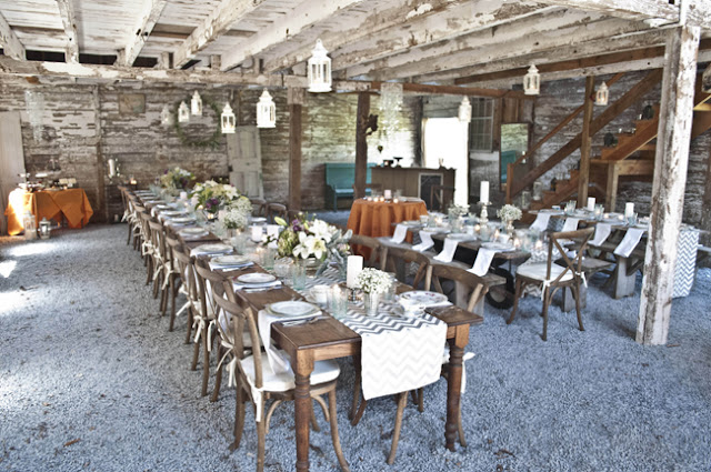 Vintage Rustic Farm Wedding Catskills shot by fine art wedding photographer Angela Cappetta view of room set for dinner