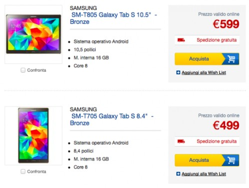 In prenvendita i nuovi tablet android top di gamma Samsung Galaxy Tab S