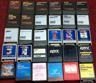 30 atari cartridges with classic titles such as pole position etc.