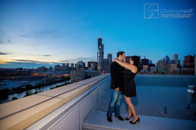 Chicago Rooftop Engagement Photo