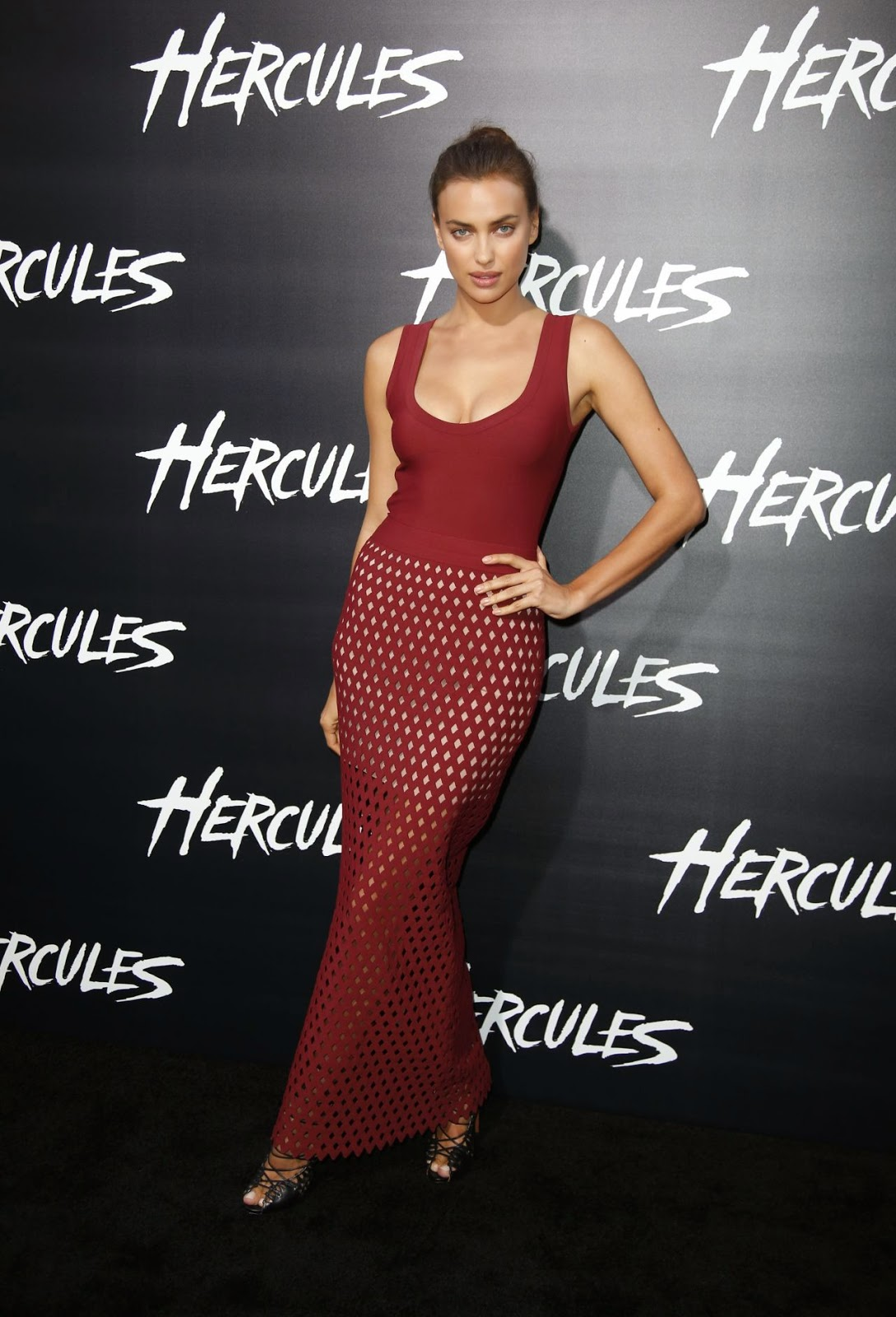 Irina Shayk arrives for the 'Hercules' LA premiere in an Azzedine Alaia dress