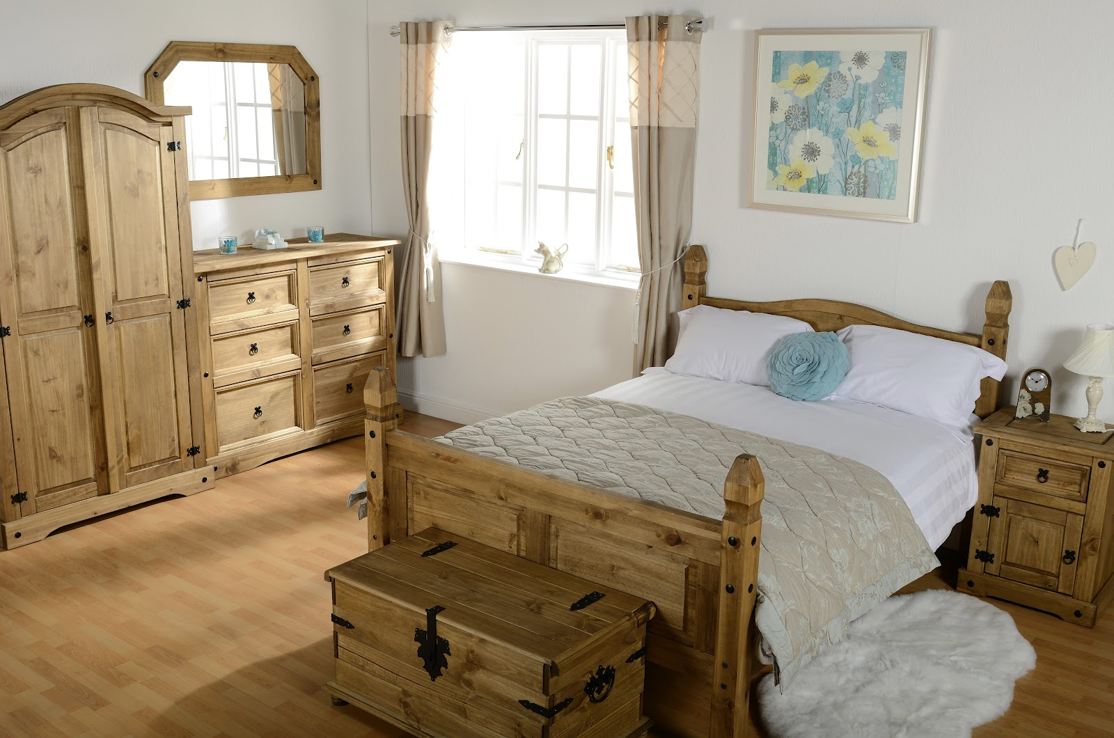 The Corona 2 Door Wardrobe, A 6 Drawer Chest With The Overmantel Mirror  Above, A Single Storage Chest, A 4ft6 Corona Double Bed, And A Bedside.