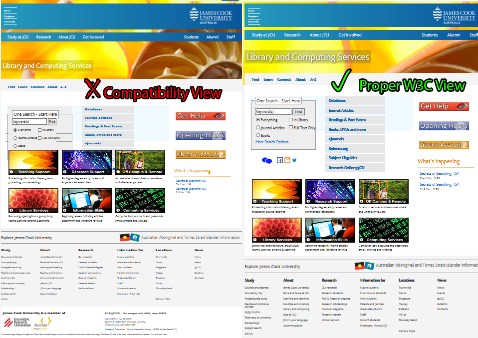 Libcomp home page Compatibility view versus W3C view