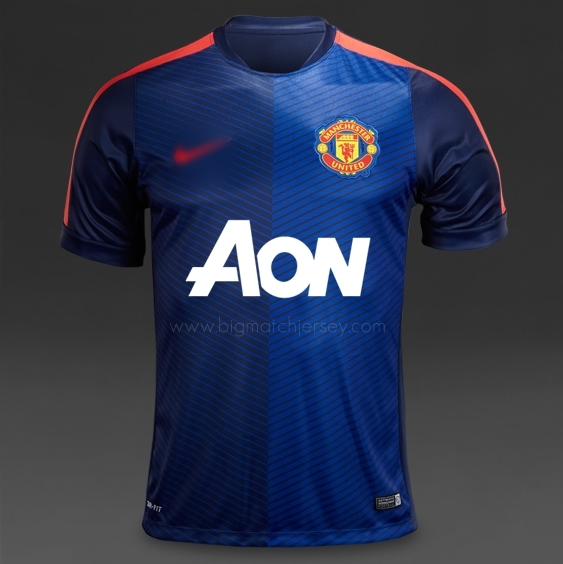 Nike Manchester United Squad SS Pre Match Training Jersey Top - Midnight Navy (Light Crimson) Blue