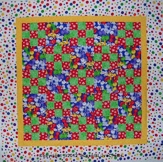multicolor 9-patch quilt top