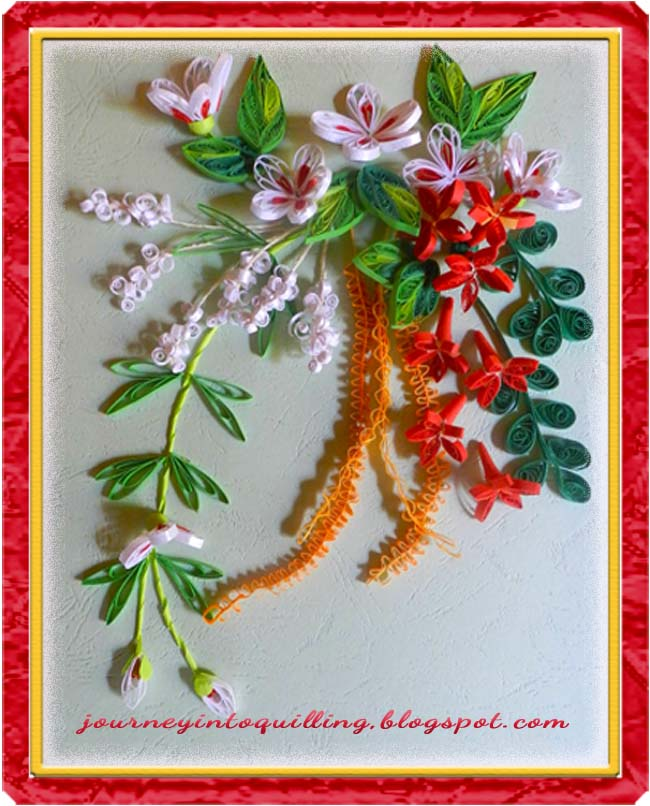 QUilled+flower+frame+quilled+dimension+flowers+quilled+leaves+quilled ...
