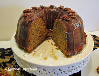 Pumpkin Buttermilk Cake w brown sugar cognac glaze