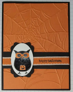 halloween card with the Owl from Warmest of Wishes and the Spider Web embossing folder