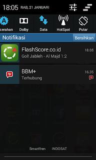 notifikasi score kemenangan di android