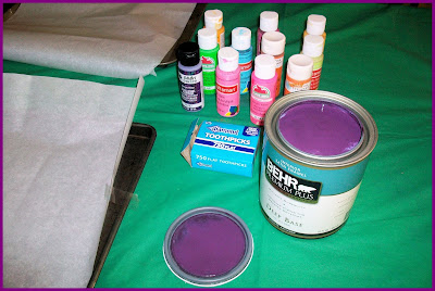 Supplies for creating the paint skin tiles for Valentine's Day craft