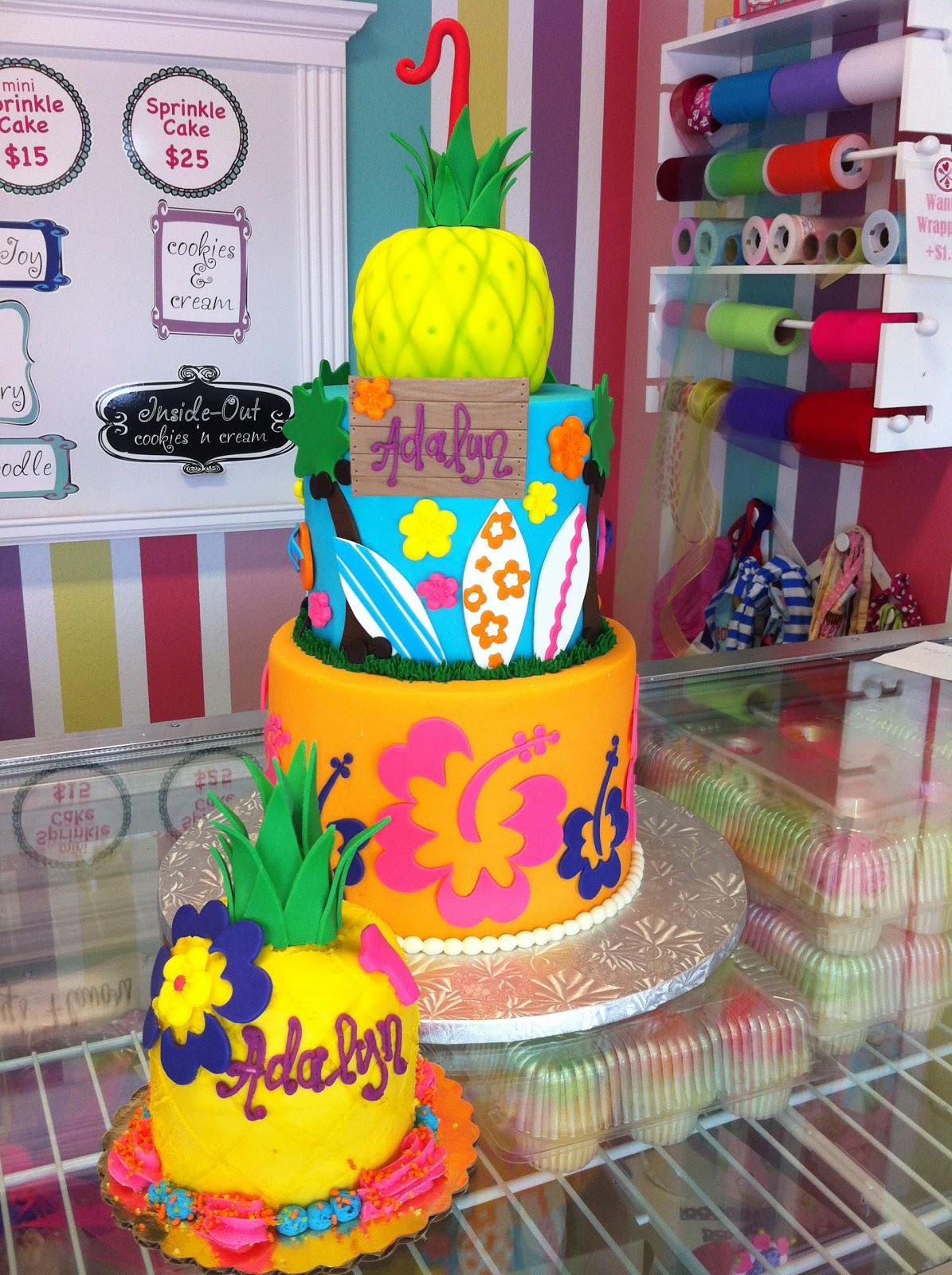 Coolest Cupcakes Hawaiian Luau Birthday Cake And Smash Cake