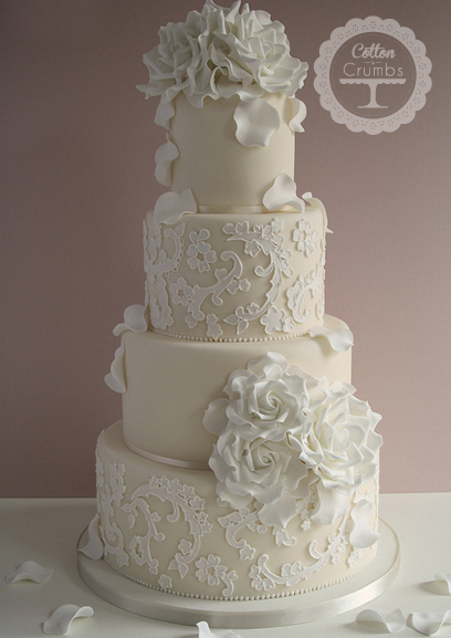 Cake With Fondant Lace : Beautiful Bridal: Lace Fondant Wedding Cakes