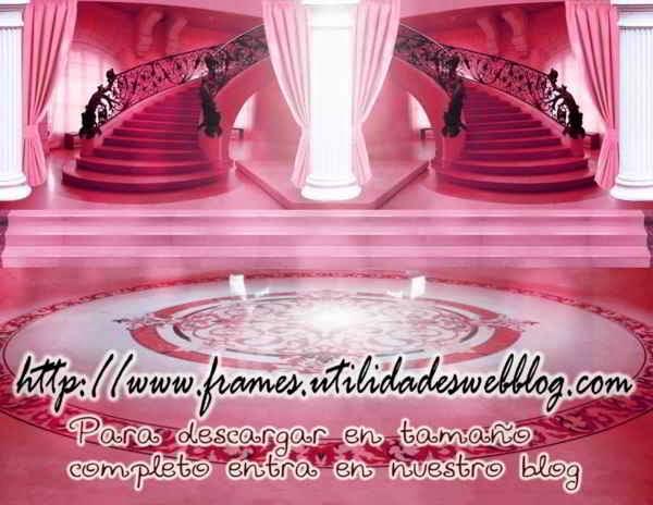Bonitos fondos de lobby con escaleras para bodas, 15 años y comuniones color rosa