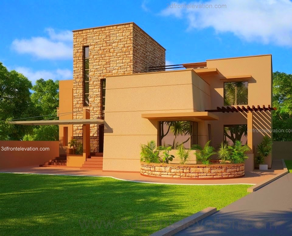 Beautiful Modern House Design + Lawn Landscaping + Garden ,in Pakistan    3dfrontelevation.com