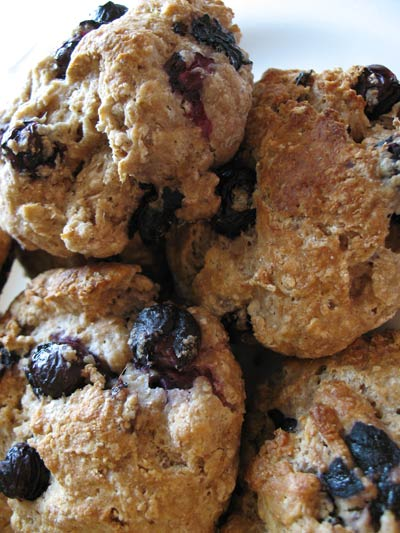 Whole Wheat Blueberry Tea Biscuits with Dried Cherries