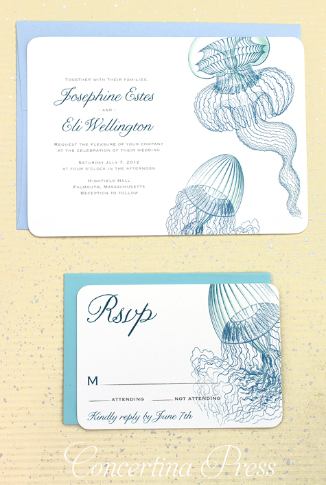 Jellyfish Wedding Invitations from scientific illustrations - Concertina Press