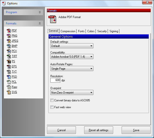 Setting PDF Creator