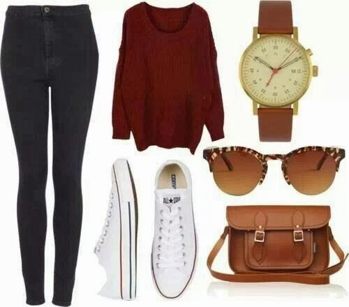 Black pants, red sweater, sport shoes and handbag combination for fall