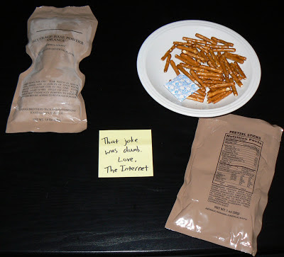 MRE Review: Menu 20, pretzel sticks