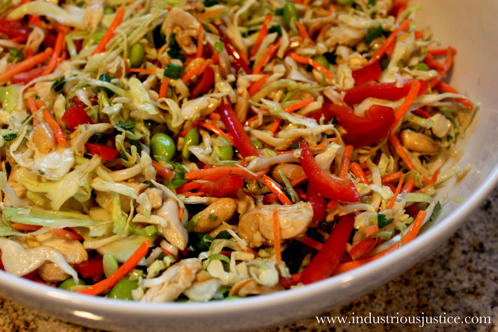 industrious justice: Recipe: Asian Slaw with Ginger Peanut Dressing